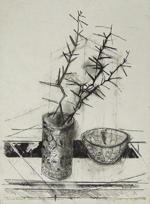 Imasri Brushpot, Woloriani Bowl & Acacia Karoo Charcoal on Paper 560 x 760