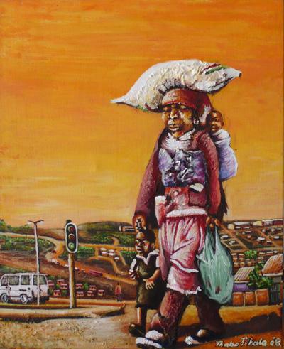 """Shopping in Alex"" | Oil on Canvas | 50 x 40 cm"