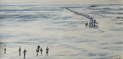 """Boerekommando buite Vanrijnsdorp""| Oil on Canvas | 76 x 38 cm"